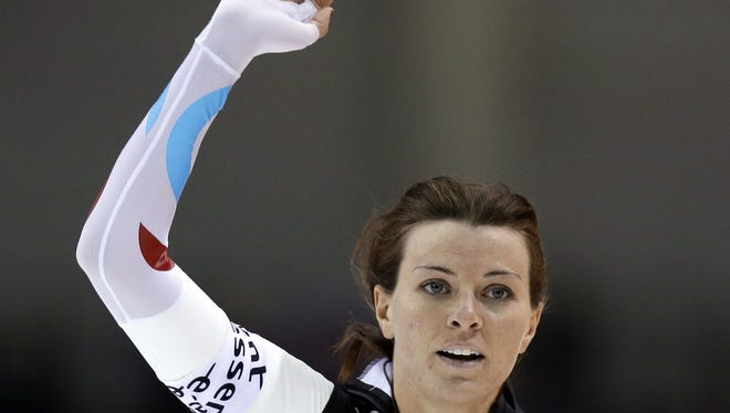 The USA's Heather Richardson after winning the women's 1,000 meters at the world sprint speedskating championships Sunday in Kearns, Utah.