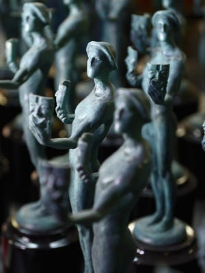Finished Actor statuettes for the 19th annual Screen Actors Guild Award are on display at the American Fine Arts Foundry.