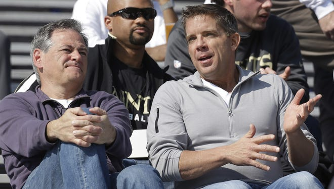Mickey Loomis, left, and Sean Payton will be making decisions for the Saints for the foreseeable future.