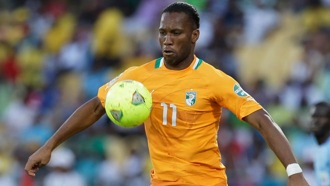 Ivory Coast's Didier Drogba controls the ball during their African Cup of Nations group D match with Tunisia on Jan. 26 2013 at Royal Bafokeng stadium in Rustenburg, South Africa.