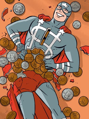 A bank-sponsored superhero gets his time in the spotlight in the DC Comics one-shot 'Before Watchmen: Dollar Bill.'