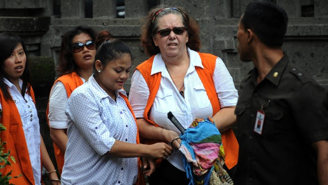 Lindsay June Sandiford of Great Britain arrives at a court in Denpasar, Indonesia, on January 7.