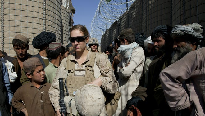 Hospital Corpsman Shannon Crowley on assignment with the Marines Female Engagement Team in Afghanistan in 2010.