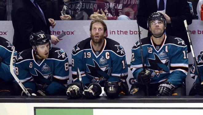San Jose's Joe Pavelski (8),  Joe Thornton (19) and Patrick Marleau (12) are the NHL's hottest line.