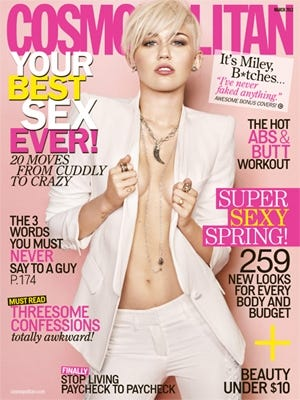 Miley Cyrus covers the March cover of 'Cosmopolitan' magazine.