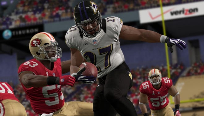 Ravens running back Ray Rice carries the ball in the 'Madden NFL 13' simulation of Super Bowl XLVII.