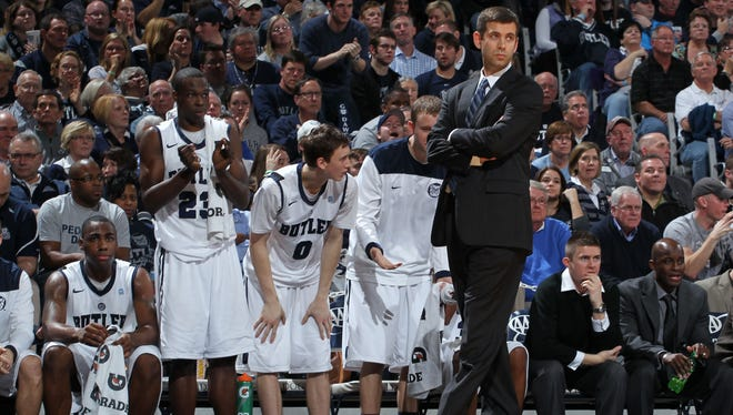 Butler Bulldogs coach Brad Stevens stands on the sidelines against the Gonzaga Bulldogs at Hinkle Fieldhouse.