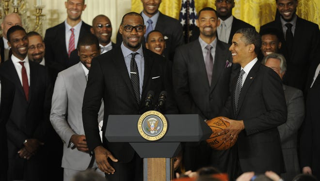 President Barack Obama honoredthe Miami Heat, last year's champions, at the White House.
