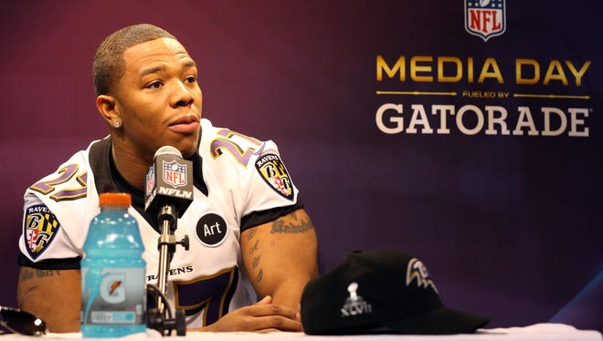 Baltimore Ravens running back Ray Rice is interviewed during media day in preparation for Super Bowl XLVII.
