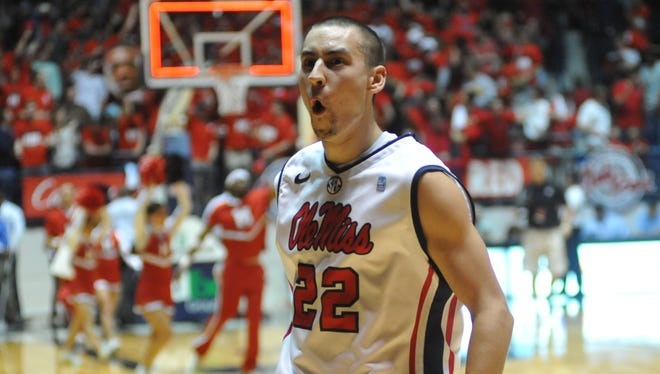 Mississippi's Marshall Henderson (22) celebrates after his team's 64-49 win over Missouri on Jan. 12.