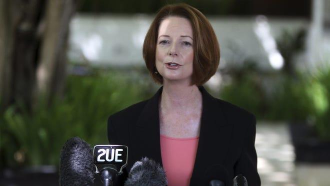 Australian Prime Minister Julia Gillard talks to media in Bali, Indonesia