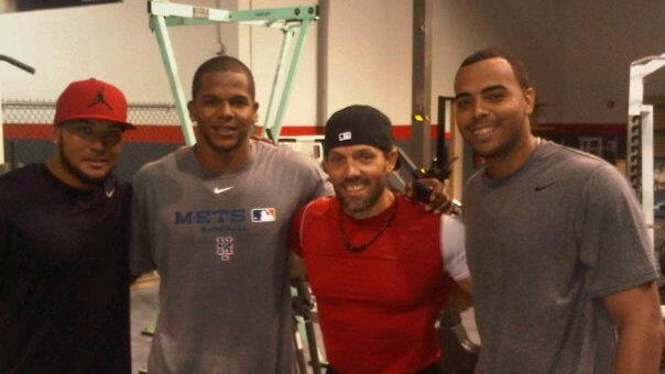 Nelson Cruz, far right, worked out with Melky Cabrera, far left, Mets prospect Cesar Puello and trainer Cesar Paublini, middle right, in 2012.