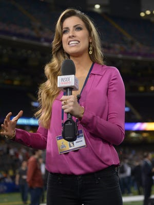 Katherine Webb reports for 'Inside Edition' during media day for Super Bowl XLVII today in New Orleans.