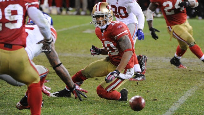 San Francisco 49ers wide receiver Kyle Williams  fumbles on a punt return in overtime of the 2011 NFC title game.