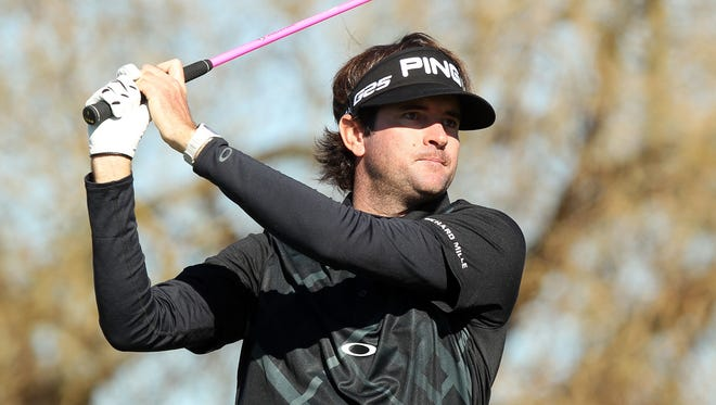 Bubba Watson tees off on the sixth hole during Waste Management Phoenix Open Pro-Am on Wednesday at TPC Scottsdale.