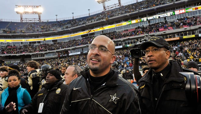 Vanderbilt head coach James Franklin reacts after beating North Carolina State 38-24 in the Music City Bowl at LP Field on Dec. 31. 2012. Franklin apologized to Alabama coach Nick Saban after he called him 'Nicky Satan.'