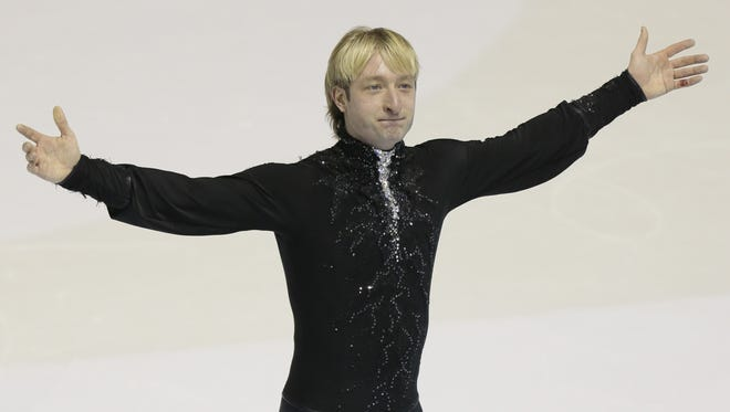 Evgeni Plushenko, of Russia, reacts after skating his short program at the ISU European figure skating championship in Zagreb, Croatia, on Jan. 24.