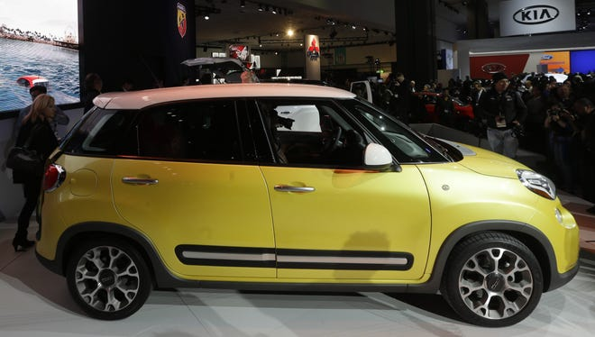 The Fiat 500L is shown at the Los Angeles Auto Show  last November.