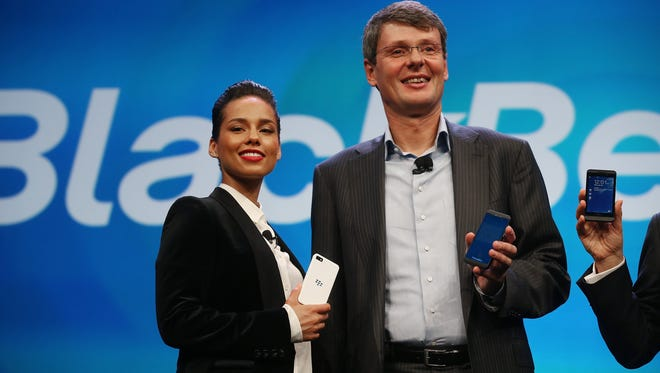 BlackBerry CEO Thorsten Heins and Alicia Keys.