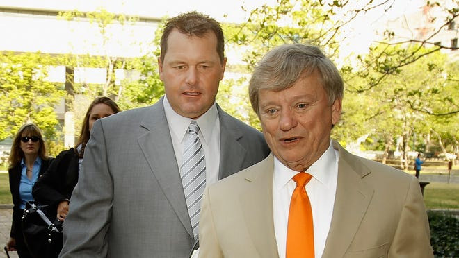 Rusty Hardin, right, represented Roger Clemens, left, over allegations Clemens perjured himself before Congress over alleged steroid use.