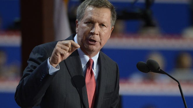 Ohio Gov. John Kasich addresses the Republican National Convention in Tampa, Fla., on Aug. 28, 2012.