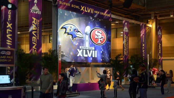 General view of the entrance to the Super Bowl XLVII Experience at the Ernest N. Morial Convention Center in New Orleans on Wednesday.