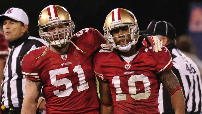 Kyle Williams (10) fumbled away the 49ers' chances of reaching Super Bowl XLVI in the 2011 NFC Championship Game.