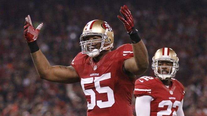 San Francisco 49ers outside linebacker Ahmad Brooks: good tackler, spotty memory.