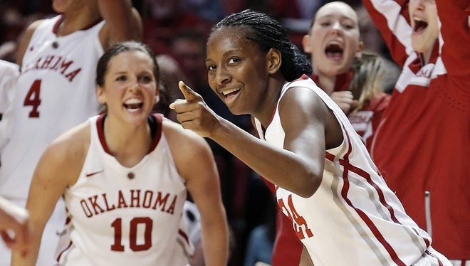 Oklahoma's Sharane Campbell celebrates after making a basket against TCU. The Sooners won 74-53.