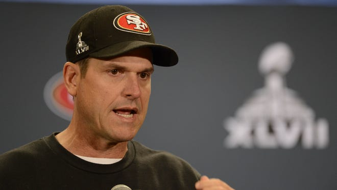 San Francisco 49ers head coach Jim Harbaugh addresses the media at a press conference in preparation for Super Bowl XLVII between the San Francisco 49ers and the Baltimore Ravens at the Marriott New Orleans.