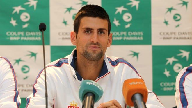Novak Djokovic of Serbia attends the Davis Cup draw ceremony.
