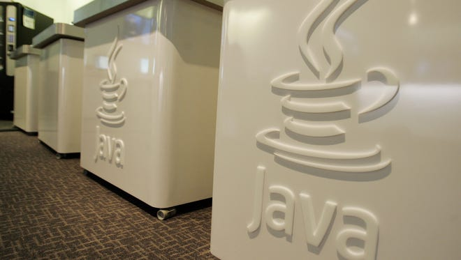This file photo shows the Java logo at Sun Microsystems' offices in Menlo Park, Calif.