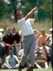 Arnold Palmer at a tournament in 1966, telegenic as ever