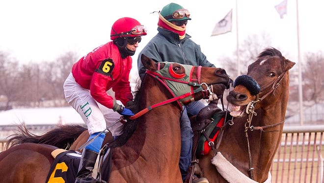 Bullet Catcher, left, with J.D. Acosta aboard, finished second in his debut at Laurel (Md.) Park, his home track, Thursday