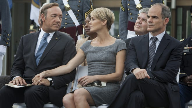 Kevin Spacey, Robin Wright and Michael Kelly star in 'House of Cards.'
