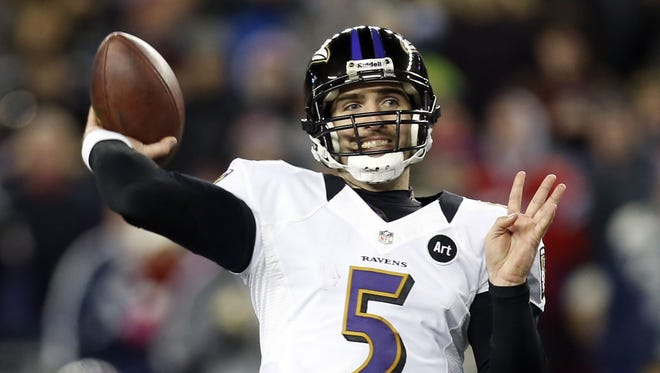 Baltimore quarterback Joe Flacco completed 21 of 36 passes for 240 yards and three touchdowns in the Ravens' AFC Championship Game victory over the New England Patriots. He's had a passer rating over 100 in all three games this postseason.