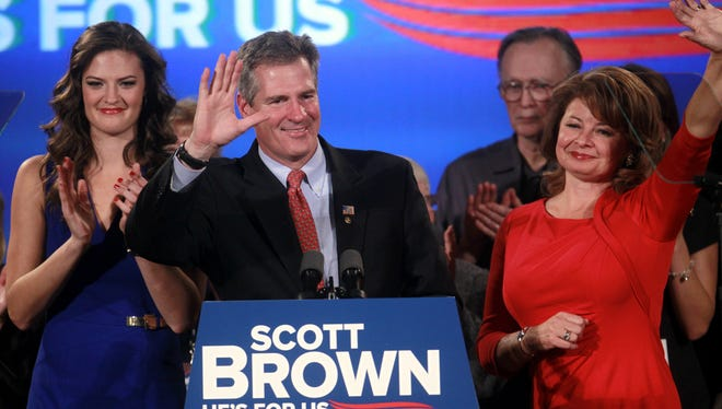 Republican Scott Brown was defeated in November for a full term in the U.S. Senate. He was surrounded by his family on election night.