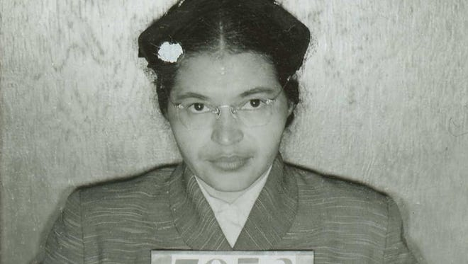 Rosa Parks' booking photo from the mass arrests of 89 leaders of the Montgomery bus boycott in 1956 in Montgomery, Ala.