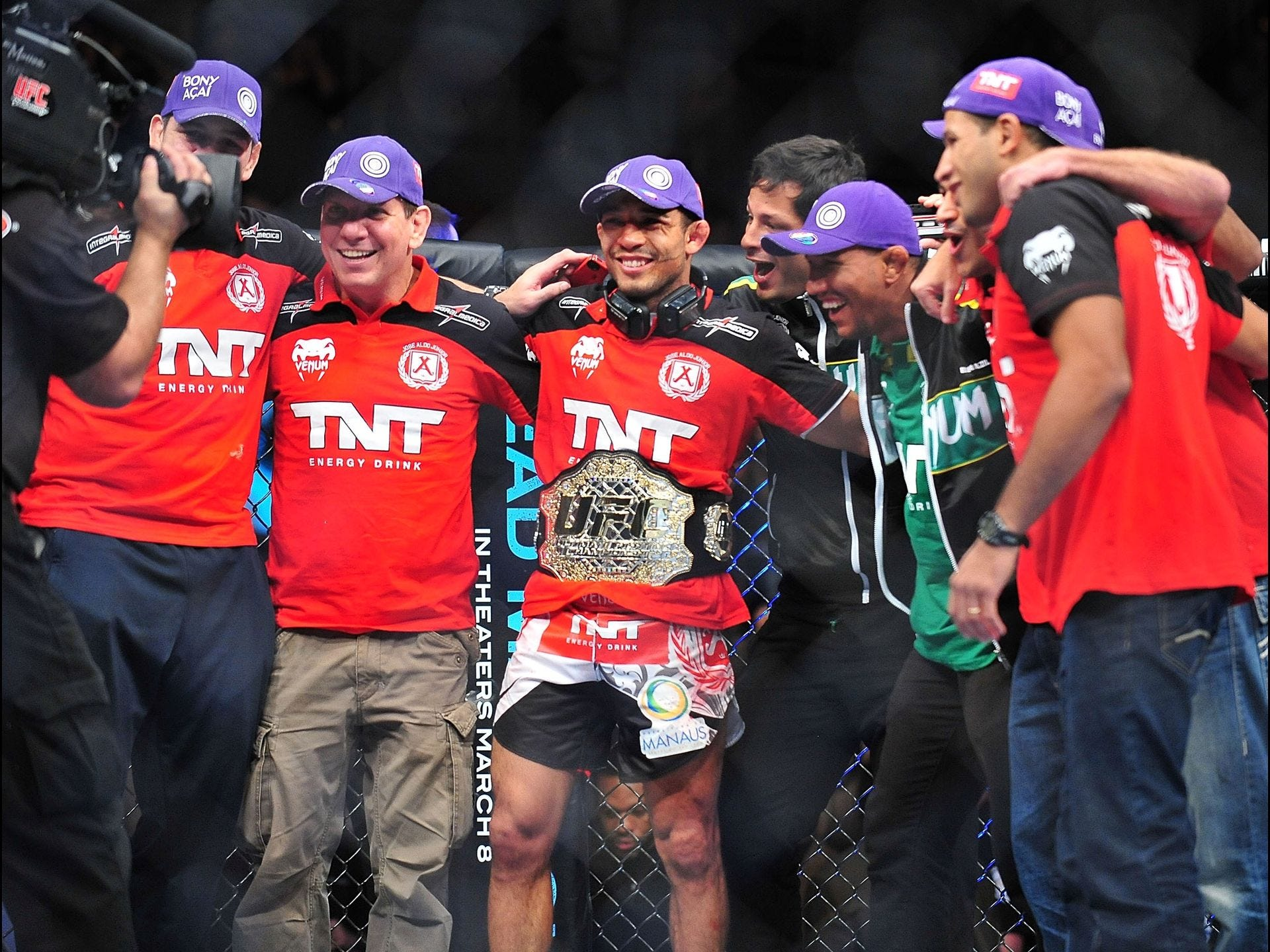 UFC 156 invaded the Mandalay Bay Events Center in Las Vegas with three marquee bouts. Jose Aldo, center, closed the show with a unanimous-decision victory over Frankie Edgar to retain his UFC featherweight title.