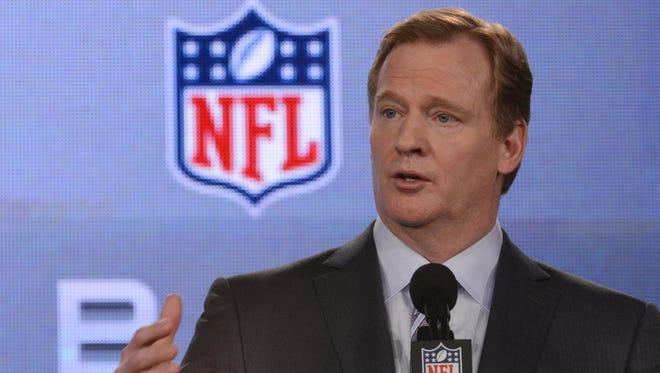 NFL commissioner Roger Goodell during a press conference in preparation for Super Bowl XLVII.