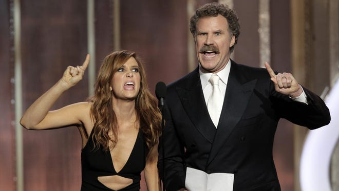 Kristen Wiig and Will Ferrell teamed for a comedy bit at this year's Golden Globes, and they'll be seen together later this year in an 'Anchorman' sequel.