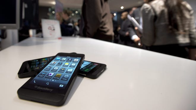 The BlackBerry Z10 on display in Toronto.