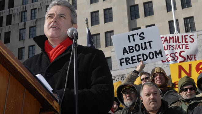 New York Assemblyman Steve McLaughlin speaks at a rally outside the Capitol in Albany, N.Y., on Saturday, Jan. 19, 2013.  Thousands gathered to protest against a new gun law passed in New York.