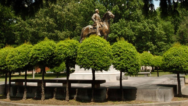 A statue of Confederate General Nathan Bedford Forrest stands in Forrest Park in Memphis, Tenn., in this 2005 file photo.
