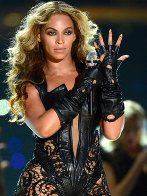 Beyonce performs during the halftime show of Super Bowl XLVII between the San Francisco 49ers and the Baltimore Ravens at the Mercedes-Benz Superdome.