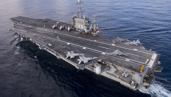 The aircraft carrier USS Harry S. Truman in the Atlantic Ocean on Dec. 9, 2012.