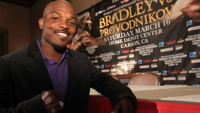 Undefeated WBO  welterweight titlist Timothy Bradley Jr. during the news conference to announce his March 16 fight against top-rated contender Ruslan Provodnikov of Russia.
