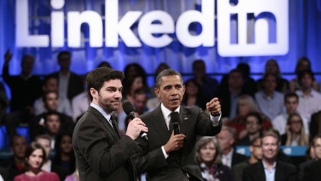 President Obama with LinkedIn CEO Jeff Weiner during a LinkedIn Town Hall Meeting in 2011 in  Mountain View, Calif.