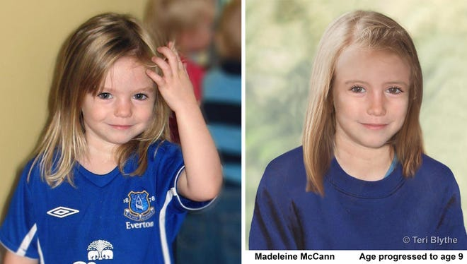 This shows composite photos of missing child Madeleine McCann at age 4 and an age-progression computer-generated image of what she might look like at 9 years old. She went missing on a family vacation in the Algarve coast in Portugal in May 2007.