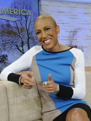 Robin Roberts makes a dry run on the set at 'Good Morning America' on Jan. 24.